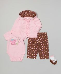 Loving this Pink 'Adorable Little Peanut' Bodysuit Set - Infant on #zulily! #zulilyfinds