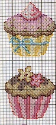 cupcake cross x chart pattern, would look good beaded and framed ... dan