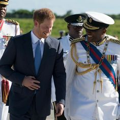 The Prince was greeted by Governor General Rodney Williams.
