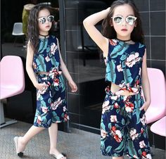 c61b94214408 Summer Children s Sets Clothes 2017 Girls Leaves Printed Sleeveless  Vest+Wide Leg Pant 2PCS Sets Kids Baby Casual Beach Sets-in Clothing Sets  from Mother ...