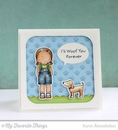 PI Woof You Stamp Set, PI Woof You Die-namics, Paw Print Background, Inside & Out Stitched Rounded Square Die-namics, Photo Props Die-namics - Karin Åkesdotter #mftstamps