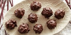 Recipe courtesy of Alton Brown:Get Chocolate Coconut Balls Recipe from Food Network Best Christmas Cookie Recipe, Holiday Cookie Recipes, Holiday Desserts, Holiday Cookies, Candy Recipes, Holiday Baking, Christmas Baking, Dessert Recipes, Christmas Candy