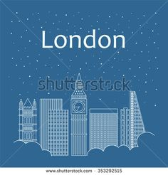 Night city in flat style for banner, poster, illustration, game, background. Metropolis in line style - snow is falling. Night life and starry sky in London. Hackathon, workshop, seminar, lecture