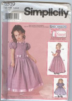 2000s Girls Dress Pattern Daisy Kingdom Dress Pattern Simplicity Sewing Pattern 5339 Doll Clothes, uncut