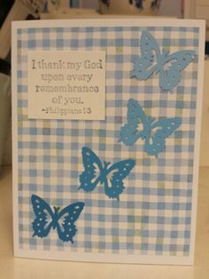 Blue birthday card. Butterfly punch. Gingham.
