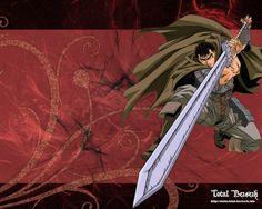 Berserk (ベルセルク). Manga creado por Miuda Kentaro (三浦 建太郎). Hay una versión en anime, lo primero que vi, y me gustó tanto, que decidí  empezar a leer el manga, porque el anime es una pequeñísima parte. Actualmente lo leo a ratos cuando puedo, es bastante fuerte la verdad y algo complicado. Guts el protagonista es un mercenario que está continuamente luchando, incansablemente. Para poder entender como es, cómo actúa, lo mejor es leerlo.