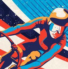 Retro Track Cycling Print Illustration Poster by sassanfilsoof
