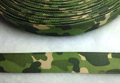 4 Yards of 5/8 Green Military Camo Ribbon 5/8 by ribbonguru, $3.25
