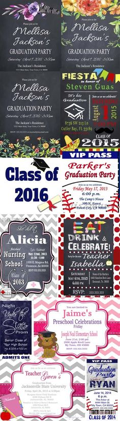 Graduation Party Ideas,  Class of 2016. Are you looking for graduation party themes or invitations? Here are a few samples of the variety of graduation invitations we have available at https://www.etsy.com/shop/M2MPartyDesigns