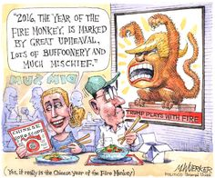 Trump - the mascot for the year of the fire monkey in Chinese astrology