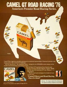 1976 Ad Camel GT Road Racing Series Filter Cigarettes United States Map IMSA Car #vintage #advertising