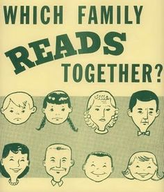 vintage library poster: Which family reads together? Library Signs, Library Posters, Reading Posters, Book Posters, Wpa Posters, Library Humor, Library Programs, Library Ideas, I Love Books