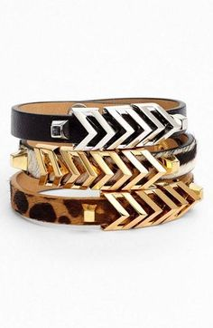 Call of the wild: Chevron stacked statement bracelet. Love!