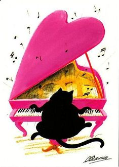 Play Piano By Ear Nothing is better than a black cat playing a pink piano. Art by Claude Henri Saunier I Love Cats, Crazy Cats, Cool Cats, Silly Cats, Music Illustration, Illustrations, Black Cat Art, Black Cats, Art Carte