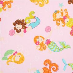 pink mermaid fabric Timeless Treasures Diving Divas