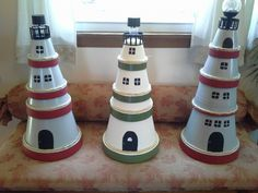 clay pot lighthouse, diy home crafts, repurposing upcycling Beach Crafts, Diy Home Crafts, Garden Crafts, Clay Pot Projects, Clay Pot Crafts, Diy Projects, Terra Cotta, Clay Pot Lighthouse, Clay Pot People