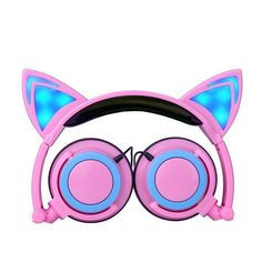 New children 's Headphone cartoon cat ears style headset folding mobile phone music headset Glowing headphones