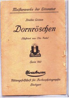 SLEEPING BEAUTY, Dornröschen(Sleeping Beauty) - Brüder Grimm - 1910s - MADE IN GERMANY - Otto Kubel pinx THIS IS THE COVER FOR THE 6 PIECE SET