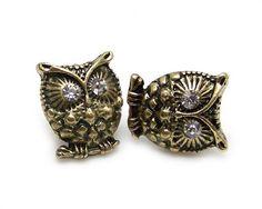 Vintage cute crystal eye bronze owl stud earrings « Blast Gifts