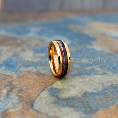 Koa Wood Ring, Koa Wood Wedding Band, Rose Gold Tungsten Band with Beveled Edge and Koa Wood Inlay, Koa Wood Tungsten Wedding Ring Bohemian Wedding Rings, Tungsten Carbide Wedding Bands, Traditional Engagement Rings, Wood Rings, Wedding In The Woods, Engagement Ring Settings, Arrow, Jewelry, Free Shipping