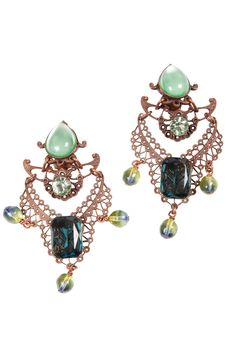 Paris Green — Multi-Jeweled Antique Earrings