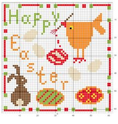 Cross-stitch Happy Easter Biscornu... no color chart available, just use the pattern chart as your color guide.. or choose your own colors...