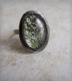 Baby's Breath Under Glass Ring | Heron and Lamb