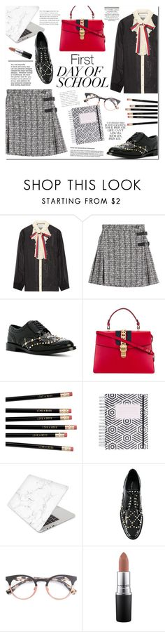 """""""First day of school"""" by mery90 ❤ liked on Polyvore featuring Gucci, Alexander McQueen, Dolce&Gabbana, Recover, MAC Cosmetics and BackToSchool"""