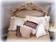 Dollhouse Shabby Chic Bedroom furniture, coffee and cream tones ...