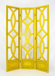 yellow folding screen via littlegreennotebook- for laundry room, to screen furnace and water heater