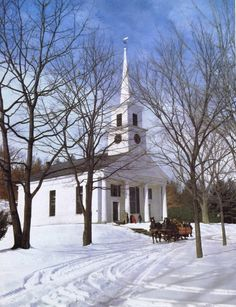 Country Church in Winter~Norman Rockwell setting, complete with sleigh!