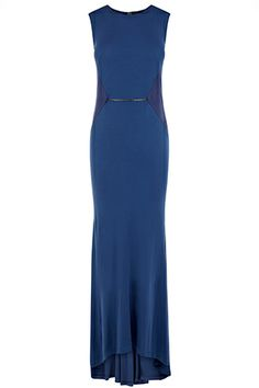 Slip into a alluring evening look with the Manon Maxi dress in a bold vintage blue. The comfortable liquid-like viscose crepe jersey skims across your curves while the clever drapery creates movement complimented by panelling that sculpts your figure to perfection. Team with metallic accessories for a modern look.