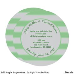 Shop Bold Simple Stripes Green Wedding Invitation created by BrightVibesArtPhoto. Wide Stripes, Bold Stripes, Stripes Design, Green Wedding Invitations, Marriage Vows, Line Patterns, Basic Colors, Zazzle Invitations, Nice