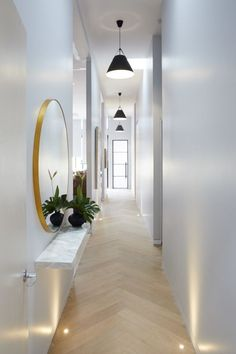2017 Trends for Modern Hallway Design Apartments is about creating the best lobby design standards to create comfort in your home so that it creates the ideal l House Design, Lobby Design, Narrow Hallway Decorating, Foyer Decorating, Entryway Lamps, Entryway Lighting, Cool Lighting, Rooms Reveal, Hallway Lamp