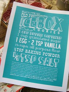 5x7 Kitchen Art Print- Get a favorite family recipe formatted for framing on the wall! Great gift. $12.00, via Etsy.