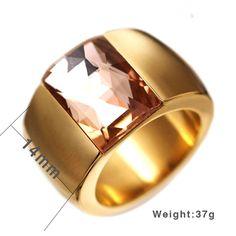 Anel Feminino Banhado a Ouro 18K com 14mm e Pedra em Zirconia