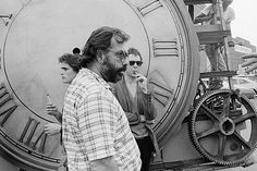 """Francis Ford Coppola, Matt Dillon and Mickey Rourke on the set of ""Rumble Fish""""."