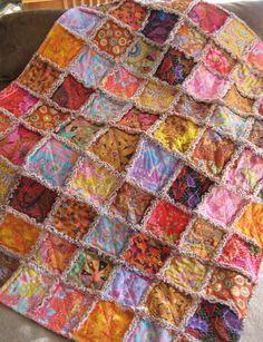 Rag Quilt Throw Blanket Kaffe Fassett Fall Sunset $245.00