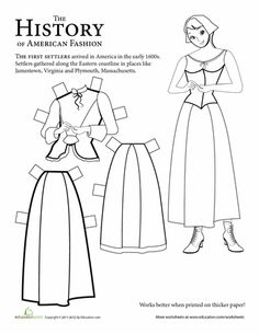 Colonial Paper Doll: Girl | Colonial, Worksheets and Dolls