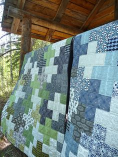 Two quilts made with David Butler's Curious Nature fabric ~ Cora's Quilts