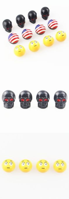[Visit to Buy] 4Pcs The United States Flag skull Expression Universal Car Truck Motorcycle Bus Crown tires for cars Wheel Stem Air Valves Cap  #Advertisement