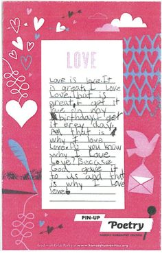 """Love"" poem submitted by Haysville Community Library.  This was written by my granddaughter, Meghan Buckert"