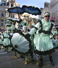 Mummers marching past Philadelphia's City Hall on New Years Day
