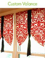 "window valences: could work on my main floor.   Like idea that they are ""foolers"" and don't roll down."