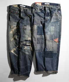 Patched and repaired denim jeans. Mode Chic, Mode Style, Mode Outfits, Jean Outfits, Raw Denim, Denim Jeans, Patched Jeans Mens, Denim Vintage, Vintage Fashion