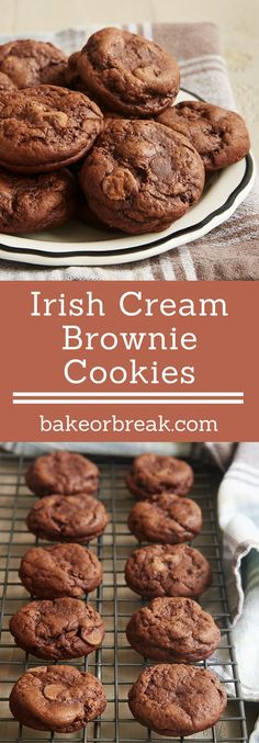 There is SO much rich, fudgy flavor in these little Irish Cream Brownie Cookies! If you love chocolate, then these are sure to please. - Bake or Break holiday baking recipes Irish Desserts, Just Desserts, Delicious Desserts, Dessert Recipes, Impressive Desserts, Asian Desserts, Brownie Cookies, Yummy Cookies, Chip Cookies