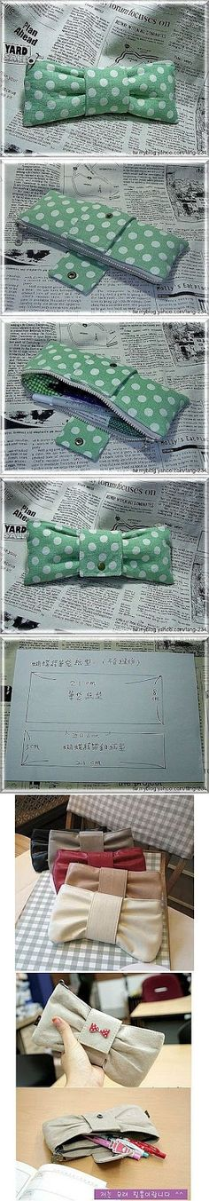 DIY Bow Clutch - Free Sewing Pattern and Picture Tutorial Page - You need to make this in your etsy shop so I can buy it. Diy Projects To Try, Crafts To Do, Diy Crafts, Decor Crafts, Sewing Hacks, Sewing Tutorials, Sewing Patterns, Sewing Ideas, Purse Patterns