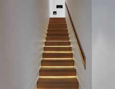 Modern wooden stairs design give a new look to a traditional material and transform a staircase into a piece of art. Wooden stairs are the most popular Staircase Lighting Ideas, Stairway Lighting, Staircase Design, Strip Lighting, Hidden Lighting, Indirect Lighting, Indoor Stair Lighting, Staircase Molding, Staircase Pictures