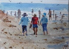 Walking on Carpinteria Beach ACEO Card Original artwork Watercolor Painting #Realism