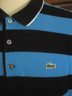Lacoste  Mens Polo Shirt Sz 8 / 3 XL  Blue / Black Stripes S/S